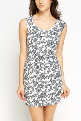 Rose Print Off White Dress
