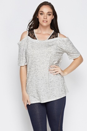Lace Insert Cold Shoulder Top