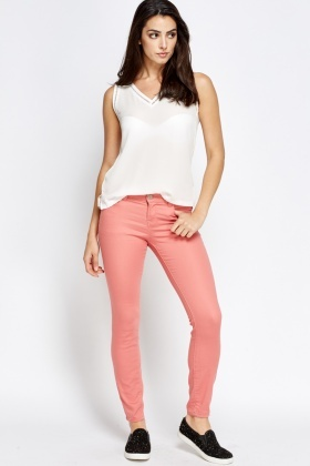 Stitched Side Slim Leg Jeans