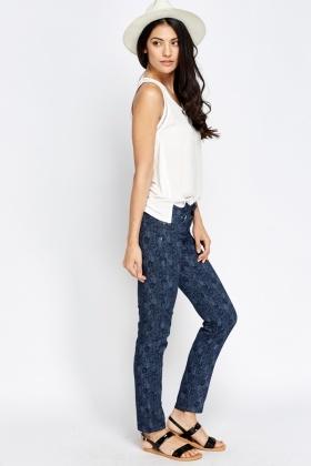 Floral Printed Navy Jeans