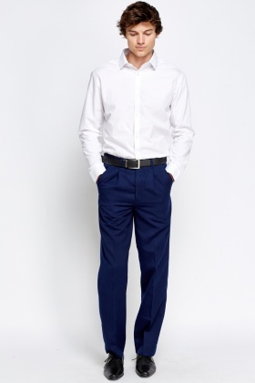 Middle Blue Smart Slim Trousers