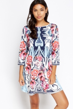 Multi Floral Shift Dress