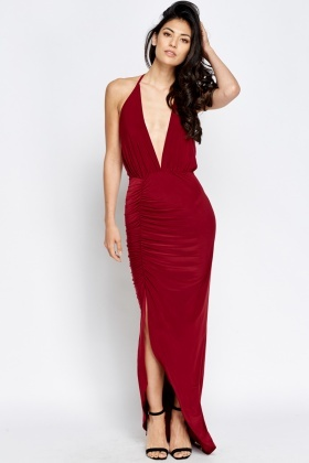 Plunge Halterneck Maxi Dress - Just £5