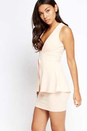 Plunge Peplum Mini Dress