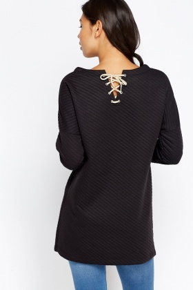 Textured Lace Up Back Bow Jumper