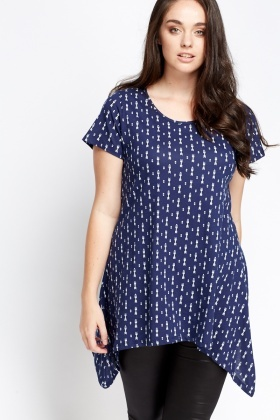Asymmetric Printed Navy Top