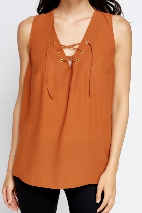 Camel Lace Up Neck Top