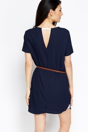 4490e62690 Contrast Belted Dress