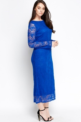 Lace Overlay Maxi Dress