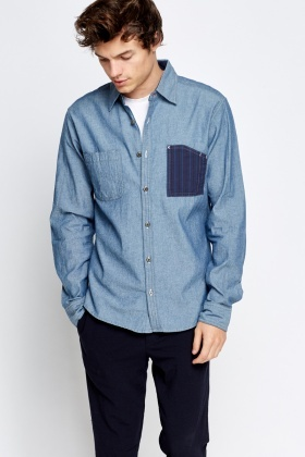 Medium Blue Contrast Pocket Shirt