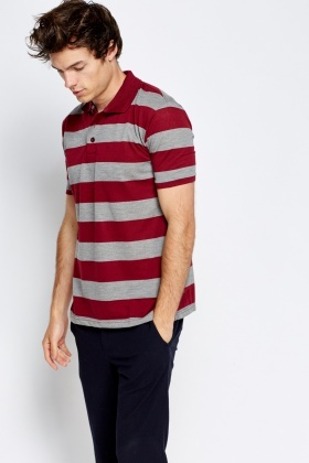 Two Tone Striped Polo Shirt