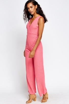 Wrap Front Textured Jumpsuit