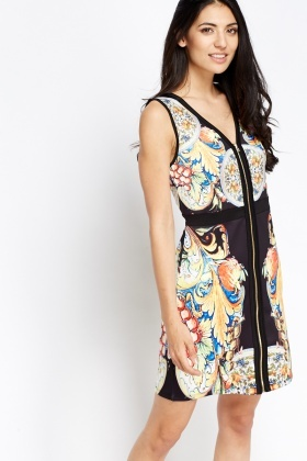 Zip Up Printed Dress