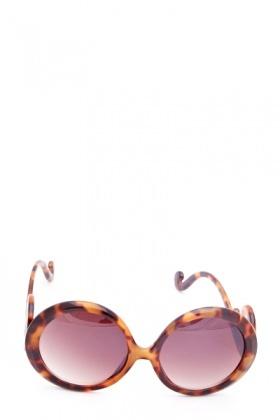 Brown Swirl Temple Oval Sunglasses