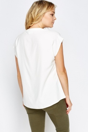 Embellished Neck Off White Top