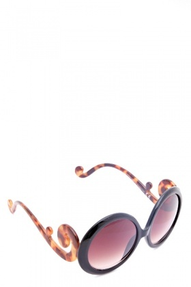 Tortoise Swirl Temple Oval Sunglasses