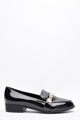 Chain Strap Mock Croc Loafers