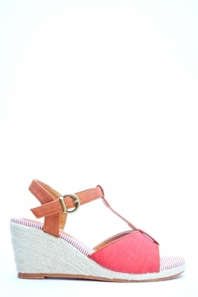 T-Bar Rouge Wedged Espadrilles