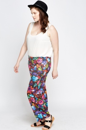 Black Floral Trousers