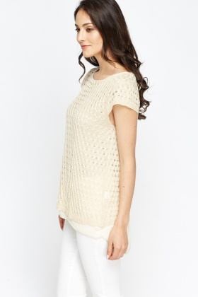Cap Sleeve Knit Overlay Top