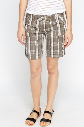 Checked Olive Shorts