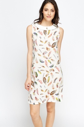 Collared Feather Print Dress
