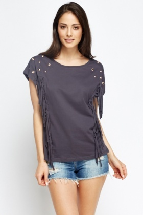 Studded Fringed Side Top
