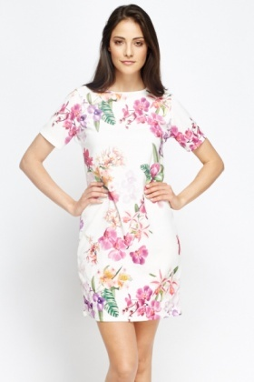 White Multi Floral Dress