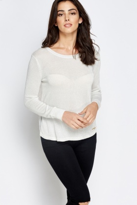 Lace Back Metallic Jumper