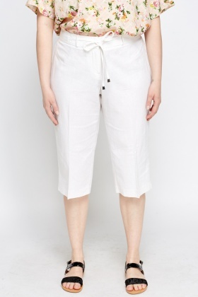 Linen Blend Off White Trousers