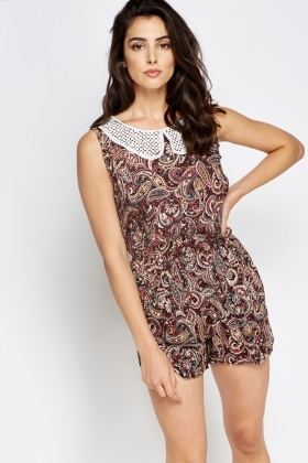 Peter Pan Collar Paisley Playsuit