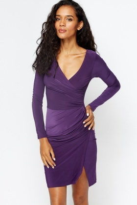 Ruched Side Wrap Dress