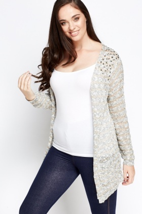 Studded Shoulder Bobble Knit Cardigan