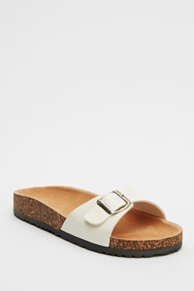 Buckle Strap Slip On Sandals