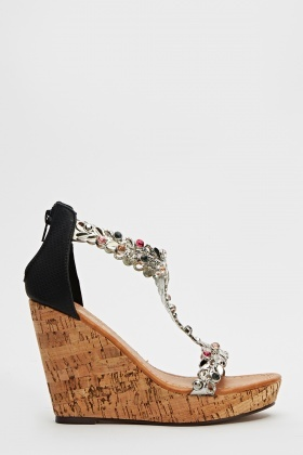 Floral Encrusted Wedge Shoes