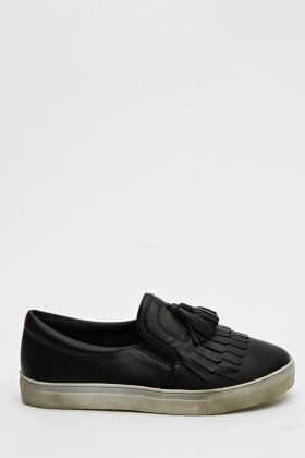 Tassel Front Faux Leather Shoes