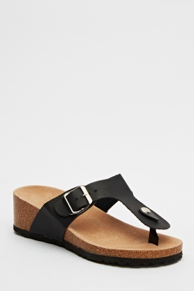 Wedged Slip On Sandals
