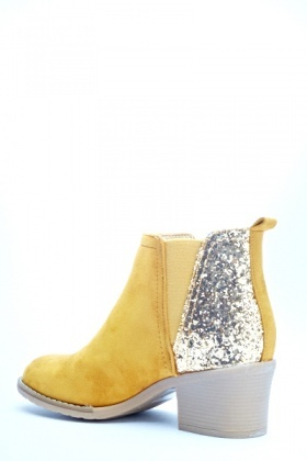 Yellow Glitter Back Chelsea Boots