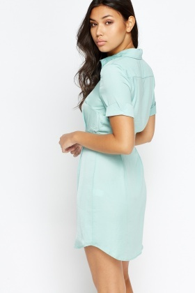 Button Front Mint T-Shirt Dress