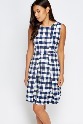 Checked White Sleeveless Skater Dress