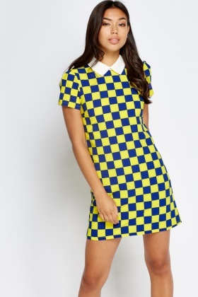 Contrast Collar Checked Dress