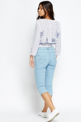 Cropped Cotton Blend Jeans