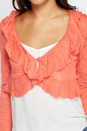 Flare Coral Cropped Cardigan - Just £5