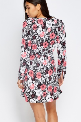 Floral Long Sleeves Elasticated Dress