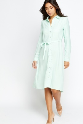 Long Asymmetric Shirt Dress