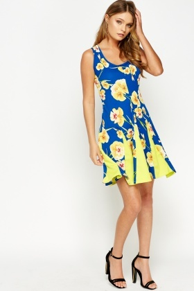 Contrast Insert A-Line Floral Dress
