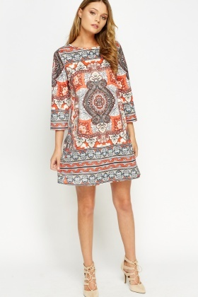 Embellished Tapestry Print A-Line Dress
