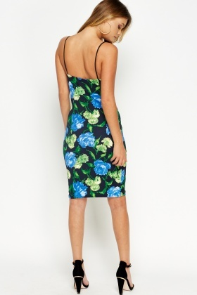 Floral Spaghetti Strap Pencil Dress