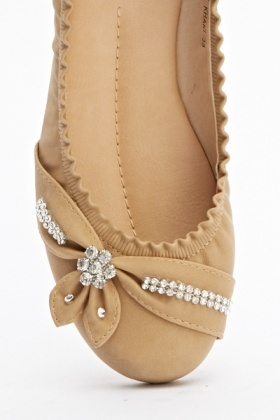 Embellished Front Bow Flats