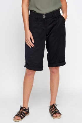 Cotton Blend Black Shorts